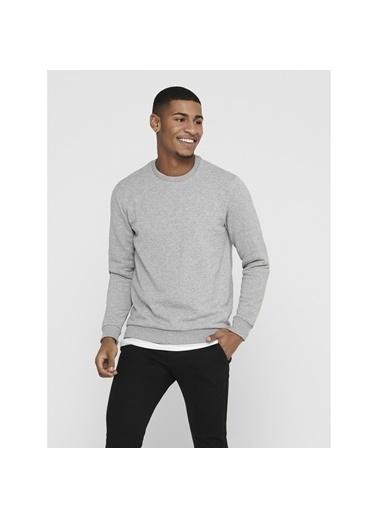 Only & Sons Erkek Sweatshirt Ceres Life Crew Neck 22018683-Lgm Gri